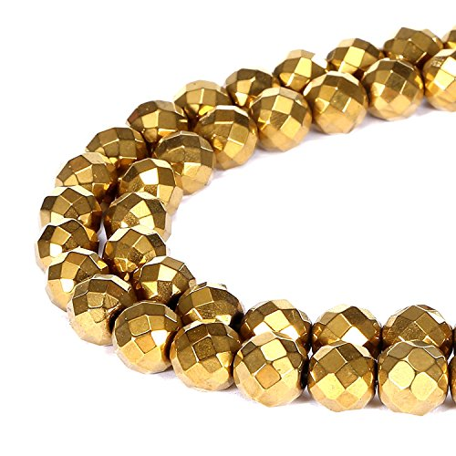 jennysun2010 8mm Natural Non-Magnetic Hematite Gemstone Faceted Round Loose Beads 15.5'' Inches Metallic Gold 1 Strand for Bracelet Necklace Earrings Jewelry Making Crafts Design Healing