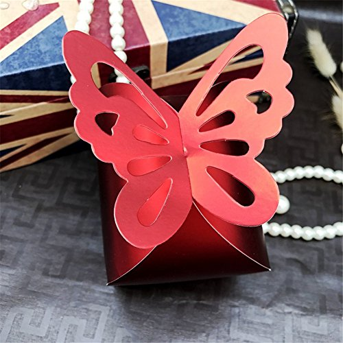 50 PCS Butterfly Design Square Wedding Favor Candy Boxes Sweet Cake Gift Candy Boxes Bags Anniversary Wedding (Red Wedding Cake)