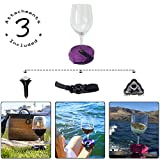 Outdoor Wine Glass Holder by Bella D'Vine - 3 Attachments include Lawn Wine Stake For Picnics, Base For Boats and Hot Tubs, Strap For Patio Chairs - Fun Wine Gift Valentines Day - Purple