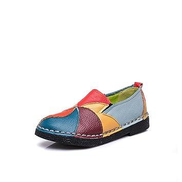 Mocasines de cuero de las mujeres planas, mocasines casuales de cuero de las mujeres Zapatos