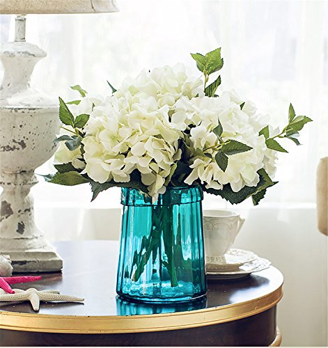Flowers Faux (Felice Arts Pack of 3 Artificial Hydrangea Flowers Fake Silk Bouquet Flower for Home Wedding Decor, (White))