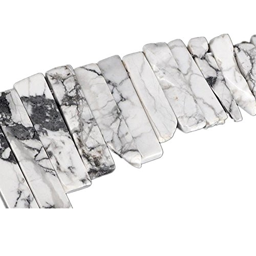 - Natural White Turquoise Crystal Points Beads Irregular Flat Strip Loose Stick Beads Gemstone for Jewelry Making Healing Crystal Polished/Raw Quartz Top Drilled