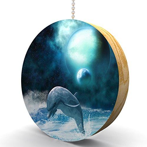 Freedom of Dolphins Hardwood Oak Fan / Light Pull