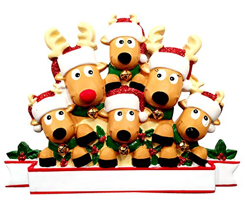 (PERSONALIZED CHRISTMAS ORNAMENTS FAMILY NEW REINDEER FAMILY OF 6)