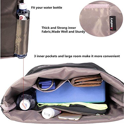 05b632df9da9 Drawstring Backpack String Bag Sports Waterproof Sackpack Gymsack Gym Cinch  Sack (Black)