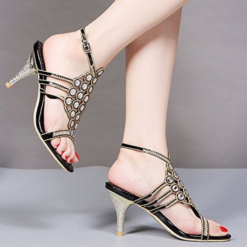 con fibbia da sandali donna con con nero Nuovo scarpe rotonda tacco sexy open Trafitto nbsp; strass toe estate testa US4 7OqxwF