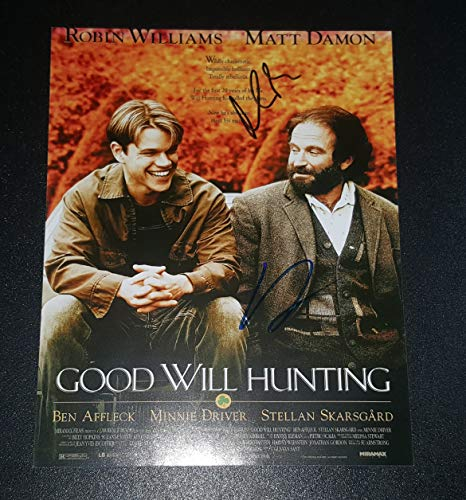 (Robin Williams and Matt Damon - Autographed 2x Signed 8x10 inch Photograph - GOOD WILL HUNTING)