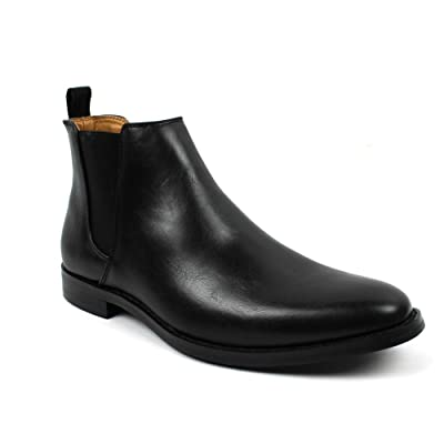 Jaxson Men's Ankle Dress Boots Slip On Almond Round Toe Leather Chelsea JX-B1851A | Boots