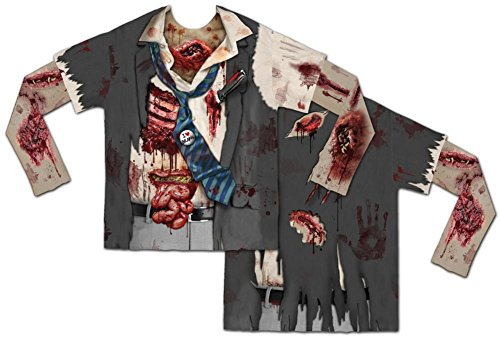 Faux Real Men's Zombie with Mesh Sleeve, Multi, (Zombie Halloween Outfit)