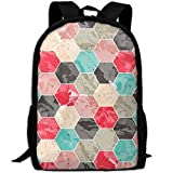 OIlXKV Abstraction Colorful Mosaic Hexagonal Print Custom Casual School Bag Backpack Multipurpose Travel Daypack For Adult