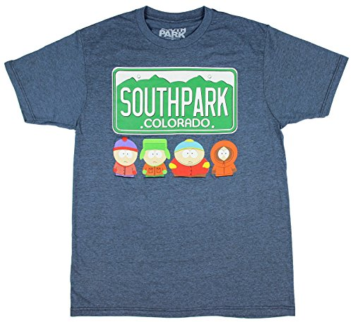 South Park Colorado License Plate and Characters Men's Athletic Fit T-Shirt (Large) (South Park Towelie)