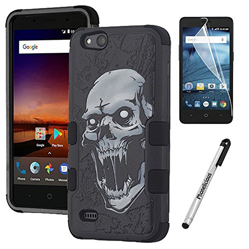 Phonelicious Rugged Series for Zte Avid 557 / Zte Zfive G C/Zte Blade Vantage/Zte Tempo Go Case - Military Grade Drop Tested with Clear Hd Screen Protector (Vampire) -