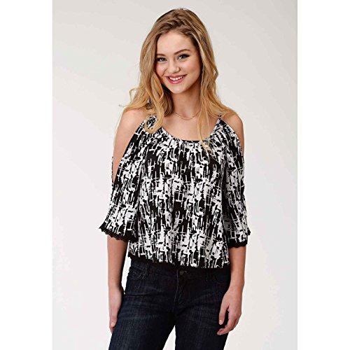 Roper Floral Shirt - Roper Women's 1384 Floral Print Polyester Chiffon 3/4 Sleeves Black X-Large