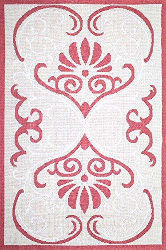 Cotton Rug Machine Washable Area Rugs 4x6 and 6x9 sizes Modern Design Ornate For Living Room (6' x 9', Coral) (Dynasty Rug Rug)