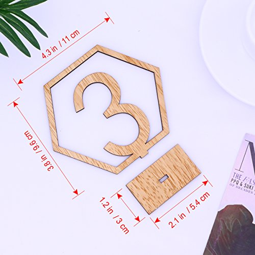 OULII 1-20 Hexagon Wooden Table Numbers with Holder Base for Wedding Birthday Engagement Decoration 20pcs by OULII (Image #5)