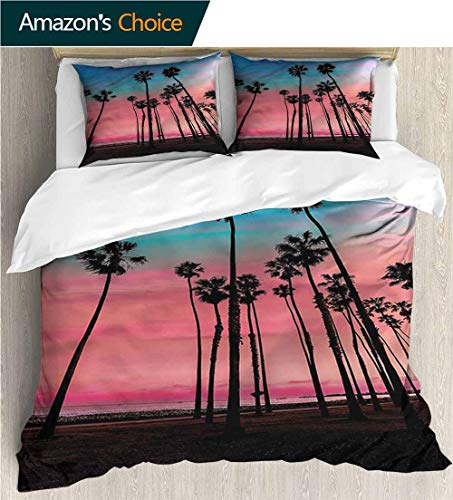 Home Duvet Cover Set,Box Stitched,Soft,Breathable,Hypoallergenic,Fade Resistant Print Quilt Cover Set White Queen Pattern Bedding Collection-Palm Tree Santa Barbara Holiday (87