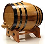 American Golden Oak Wood Barrel, Whiskey, Wine, Rum, Bourbon, Tequila and Beer 365 day warranty. Black Steel, 20L
