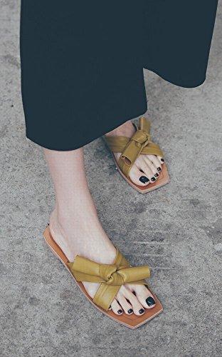 Sandales Chaussures Loisirs Bow Paresseux Plates D'Été Doux Chaussures Femmes 38 DIDIDD Jaune Pantoufles Plage de Porter des dwBzqHX
