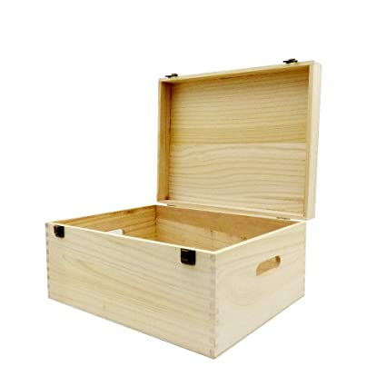 Wooden Hinged Storage Box Unvarnished 400 X 300 X 200mm Gift Ideas For Christmas Birthday Toy Box Trinkets Keepsakes Tools