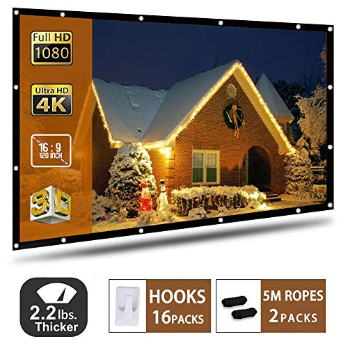 120 Inch Projection Screen 16:9 HD Portable Widescreen Foldable Anti-Crease Indoor Outdoor Indoor Projector Movies Screen for Home Theater Support Double Sided Projection (120 inch)