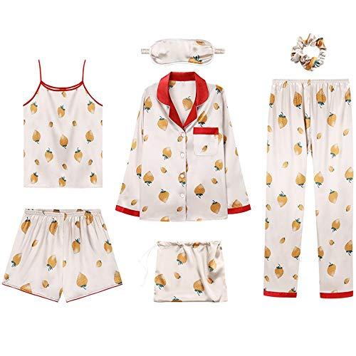 Mujer L Servicio Traje Xl De A Verano Camisola Baujuxing Piezas Tirantes Hielo Seda Informal Domicilio Siete Simulación Pijama Sexy qOxUxgHwv