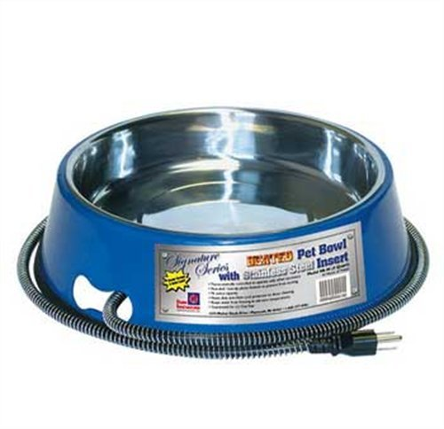 Farm Innovators Model SB-40 3-Quart Heated Pet Bowl with Stainless Steel Bowl Insert, Blue, (Heated Dog Dish)