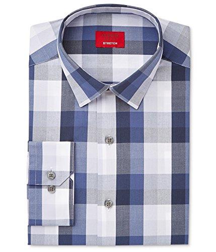 Alfani Mens Slim-Fit Stretch Gingham Dress Shirt (Peach Blue, 16-16.5 X 34/35) from Alfani