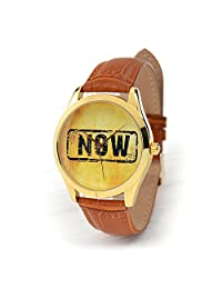 Gold Case NOW Watch - Unisex Wrist Watch That Says Now - Birthday Gifts - Cool Gift Ideas (ginger)
