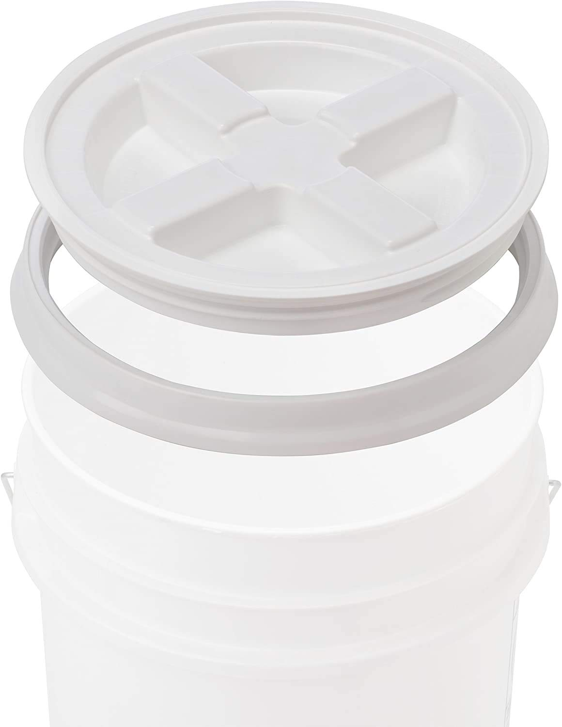 Gamma Seal Lid - White Storage Plastic Container Cover - Food Grade Gasket Airtight Lids - Screw Seal Multipurpose Covers - Fits 3.5 5 7 Gallon Buckets 12 Pack (1 Pack, White)