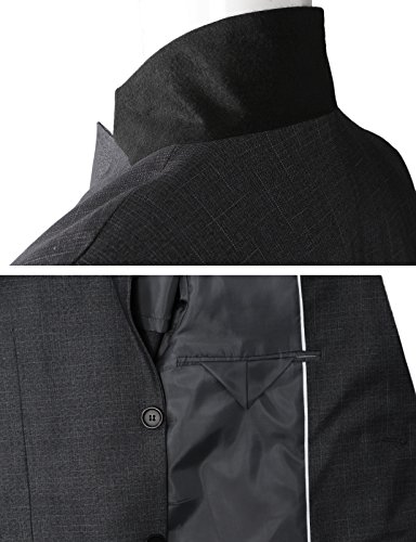 H2H Men's Casual Double-Breasted Jacket Slim Fit Blazer Charcoal US XL/Asia 3XK (KMOBL0125) by H2H (Image #6)