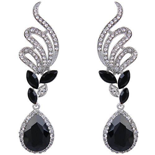 Black Earrings Costumes (BriLove Women's Elegant Crystal Wedding Bridal Vine Leaf Teardrop Dangle Earrings Silver-Tone Black)