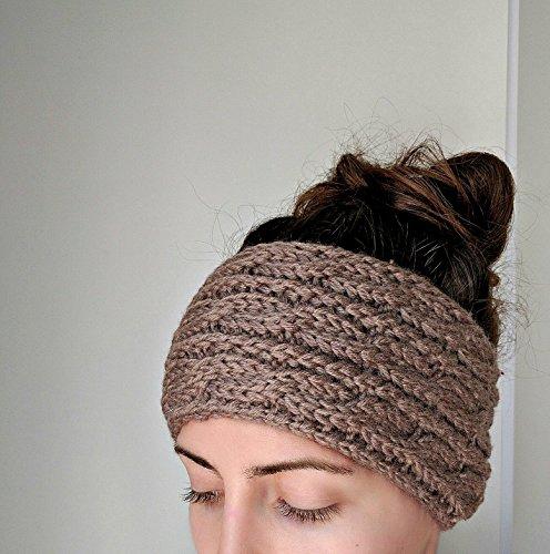 Chunky Cable Knit Ear Warmer Headband, Thick and Cozy Ear Warmer - Mocha