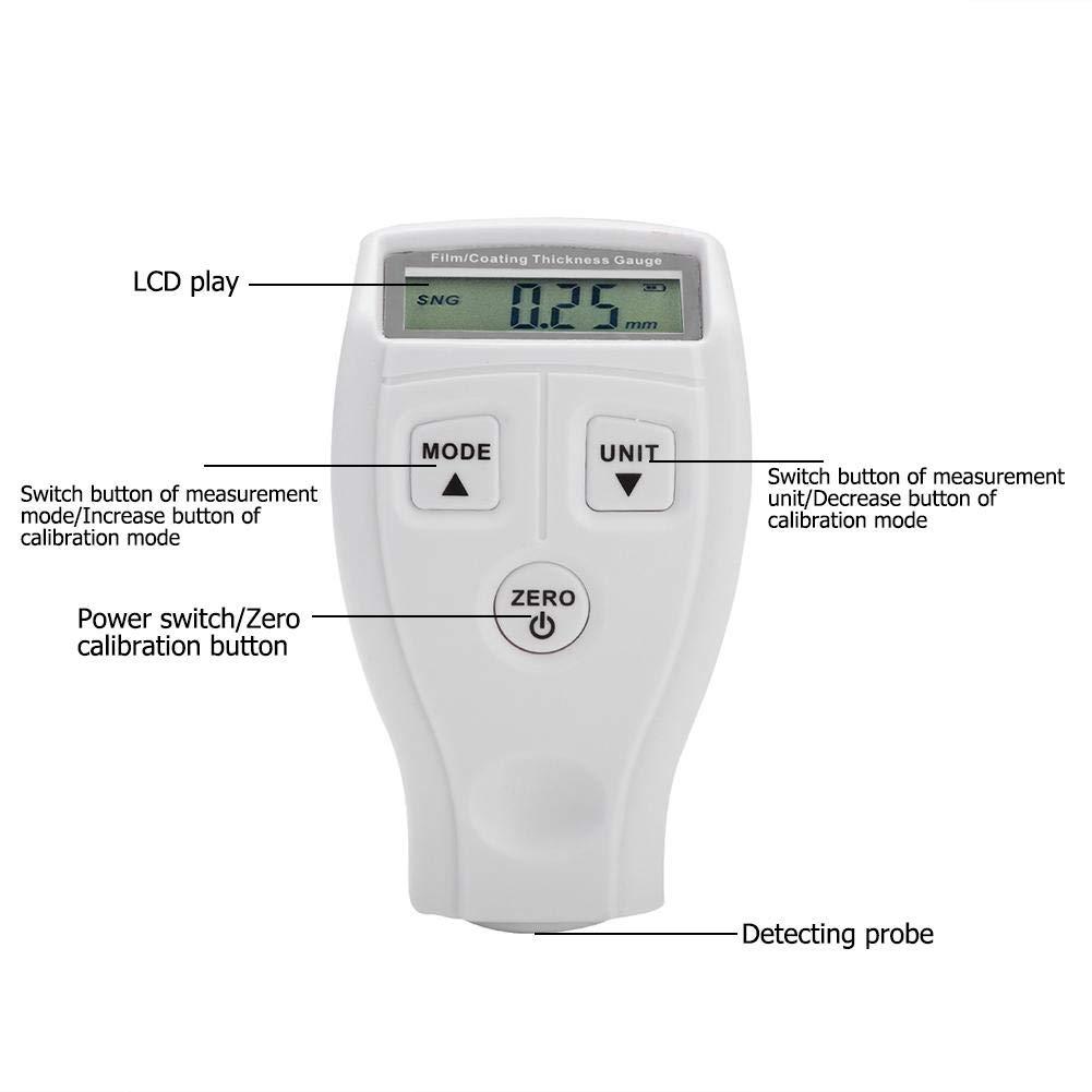 medidor de pintura de calibre de recubrimiento detector digital de espesor para detecci/ón de coches Mini medidor de grosor de pintura port/átil LCD para coche