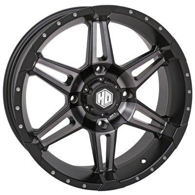 4/137 STI HD7 Alloy Wheel 14x7 5.0 + 2.0 Matte Black/Smoke - Fits: Bombardier Outlander 330 2x4 H.O. 2003-2005