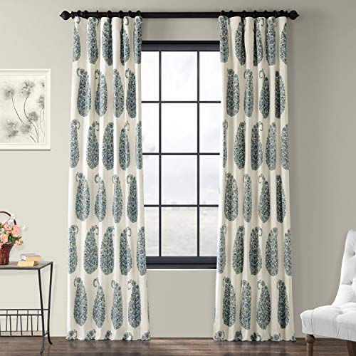Half Price Drapes PRTW-D42A-96 Paisley Park Printed Cotton Twill Curtain, Blue