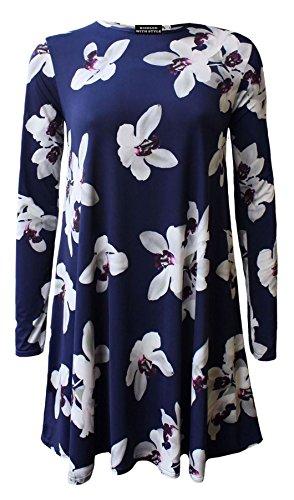 LONGUES LONGUE MANCHE Floral ROBE Lily NOUVEAU COSSAIS 8 26 SWING TAILLE GRANDES White CARREAUX FEMME MANCHES ROBE VASE TAILLES 1qxc4Uvc