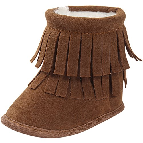 Fire Frog Baby Boots Toddler Girl Fringe Tassels Winter Warm Suede First Walker Shoes