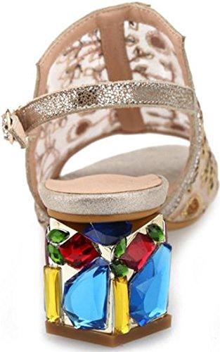 Laruise Women's Leather Kitten Heel Sandal golden zPTt5a