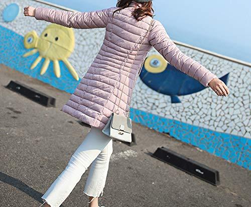 Donne Pulsante Con In Cappotto Colore Premuto Tasca Il Di Leggero Piumino Il Imbottito Sottile Laozana Rosa Media Lunghezza Forma Cxw6HqtP