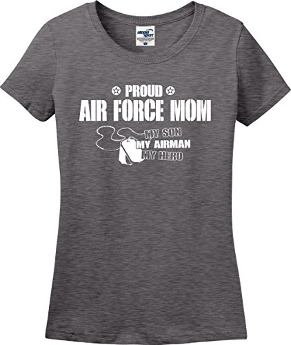 Utopia Sport Proud Air Force Mom My Son Airman Hero Ladies T-Shirt (S-3X) (Large, Graphite Heather)