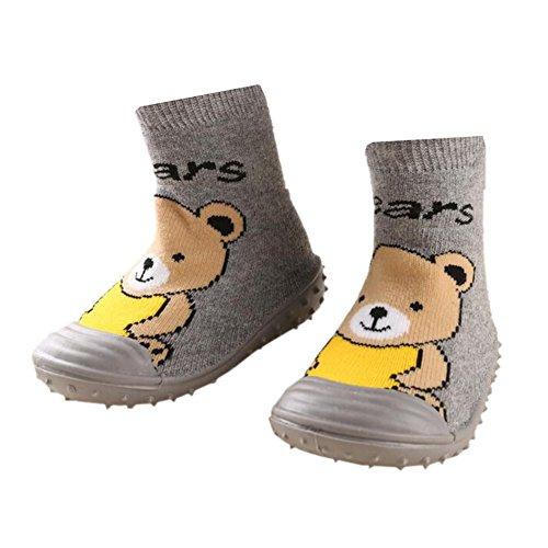 leap frogFloor Sock Slipper - Zapatillas altas niña Short Bear Grey