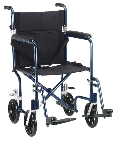 (Drive Medical FW19BL Fly-Weight Transport Chair, 19 Inch, Blue)