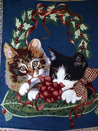 Tache Adorable Kitty's First Christmas Pets Woven Tapestry Throw Blanket, 50