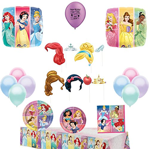Disney Princess Party Supply for 16 Guests and Balloon Bundle