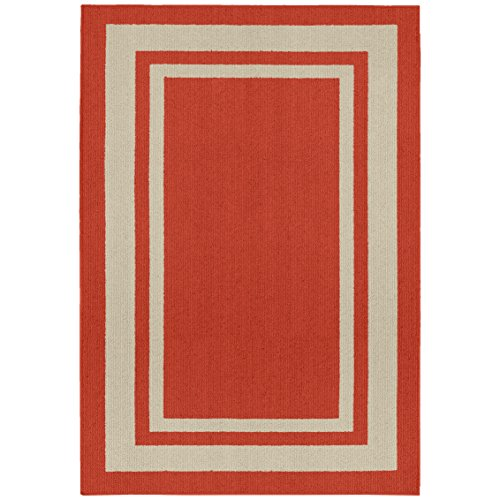 Garland Rug Borderline 5' x 7' Indoor/Outdoor Area Rug, Rectangle, Red - Indoor Border Outdoor Rug