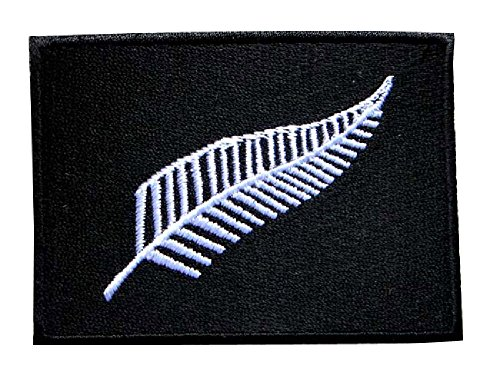 New Zealand the Silver Fern Flag Symbol Embroidered Iron on Patch Free (Fern Patch)