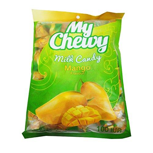 - CHEWY MILK FRUIT CANDY 100 pcs. TOFFEE HAOLIYUAN BRAND THAI DESSERT TARO FLAVOR Big Pack (Milk Mango)