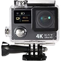 TOOGOO(R) 2 Inch Dual Screen LCD Ultra HD Wifi Sports Action Camera 4K 15fps 1080P 60fps 12MP 170degree Wide-angle for HDMI Output Waterproof 30m Cam Car DVR FPV