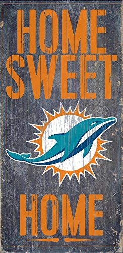 Fan Creations - Miami Dolphins Wood Sign - Home Sweet Home - Miami Dolphin Mall