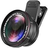 [Upgraded Version] AMIR Phone Camera Lens, 0.45X Wide Angle Lens + 15X Macro Lens, 2 IN 1 Clip-On Professional HD Cell Phone Lens for iPhone 7 / 7 PLUS / 6, Samsung, Other Smartphones